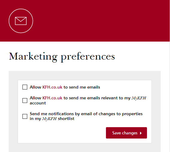 MyKFH marketing preferences